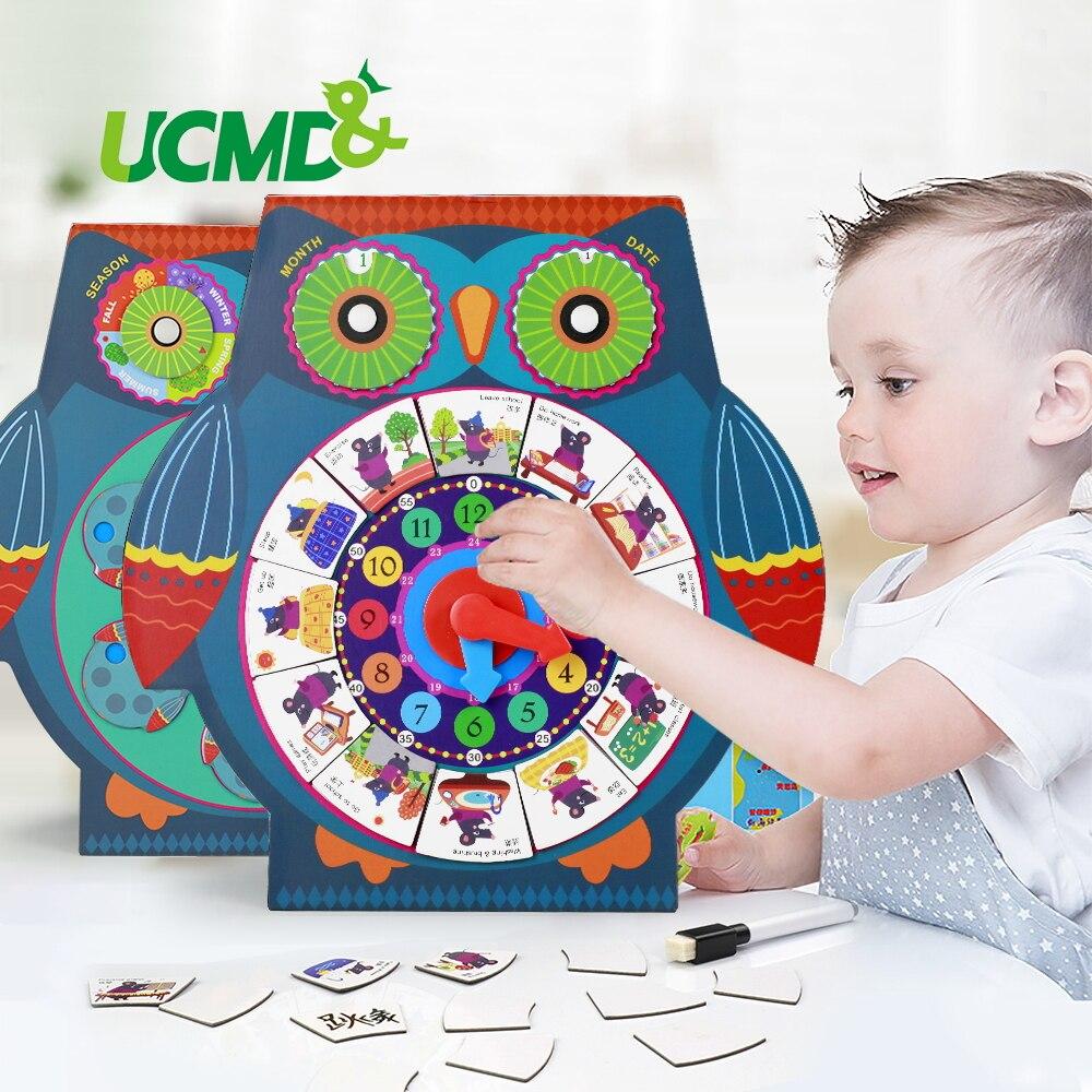 Horloge réglable magnétique d'apprentissage de temps horloge de calendrier d'enfants avec la saison météorologique jouets éducatifs cognitifs pour le cadeau d'enfant
