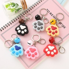 Creative Cute Dog Cat Paw Keychain 3D Cartoon Animal Soft Silicone Car Accessories Handbag Decor
