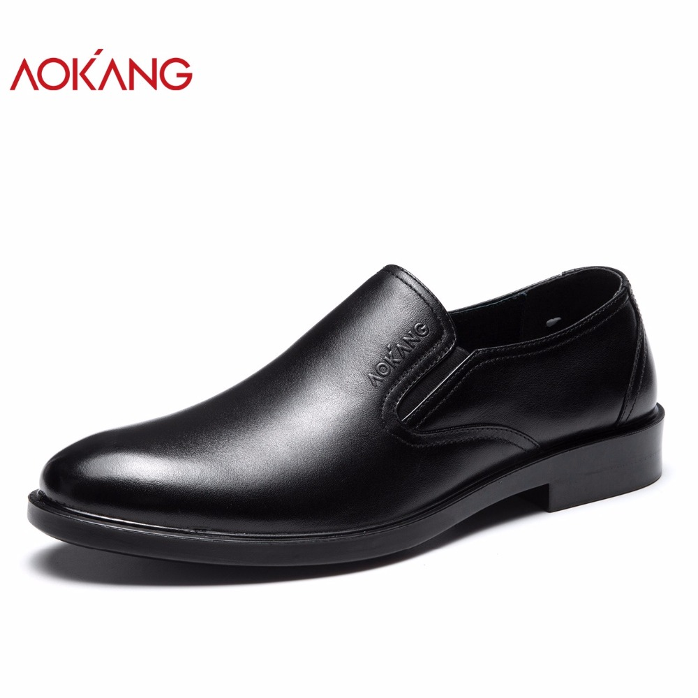 AOKANG 2018 New arrival men dress shoes genuine leather casual shoes men breathable leisure men business shoes high quality shoe new arrival high quality genuine leather men shoes lace up casual business shoes men wedding shoes fashion dress shoes size39 44