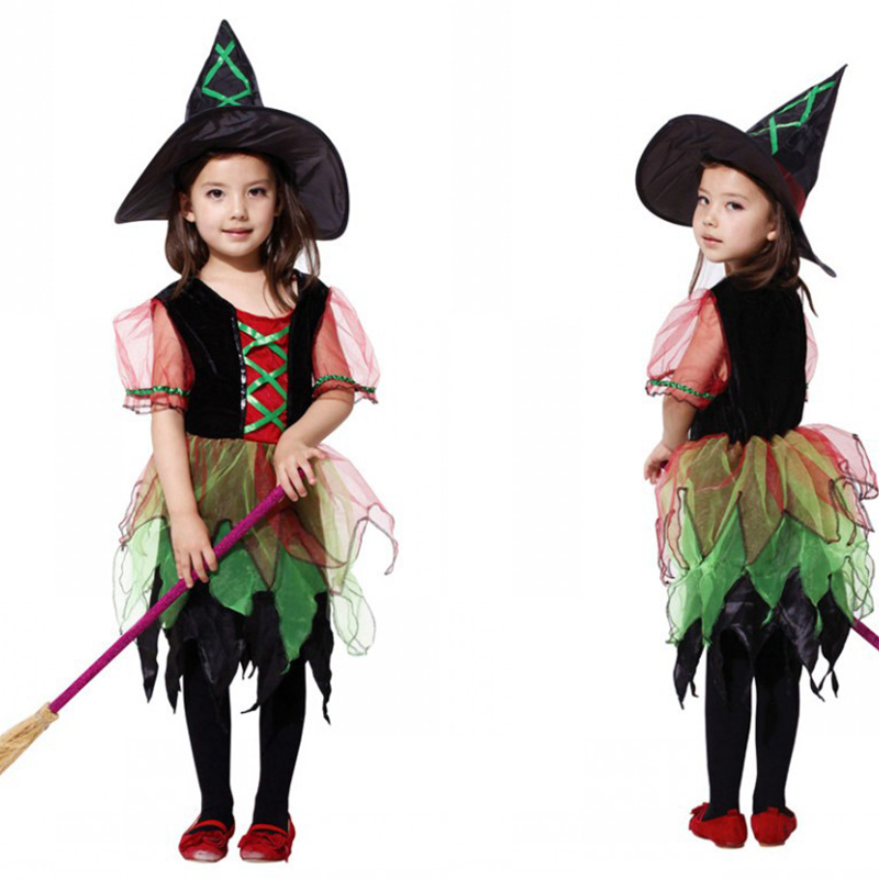 High quality Halloween children's princess dress plays clothing girl children's costume party performance costume party witch wi