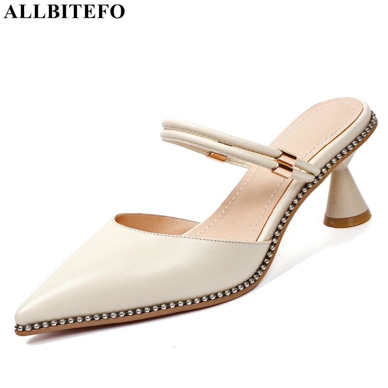 ALLBITEFO fashion retro genuine leather pointed toe high heels women sandals high quality women high heel shoes ladies shoesALLBITEFO fashion retro genuine leather pointed toe high heels women sandals high quality women high heel shoes ladies shoes