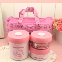 Insulation Bag Steel Thermal Bento Food Container Insulation picnic 3pcs/set Lovely Cartoon Pink Stainless with