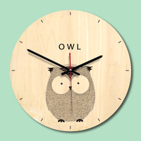 OWL Wooden Wall   Clock   Round Vintage for Home Kitchen Office Decor   Clock   Creative