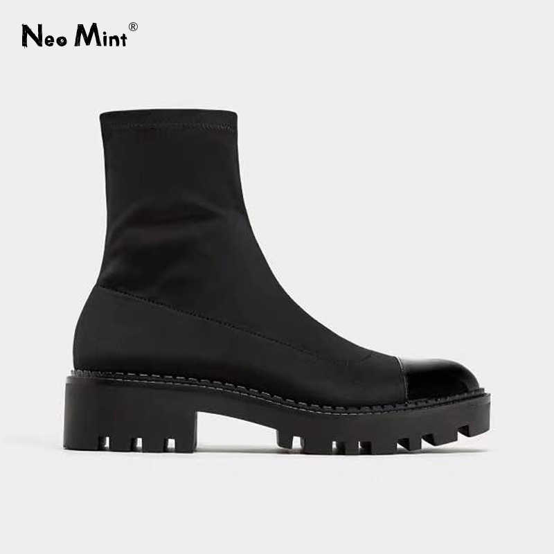 Chunky Heel Platform Boots Women Slim Stretch Fabric Sock Boots Platform Ankle Boots for Women Brand Designer Winter Shoes Woman