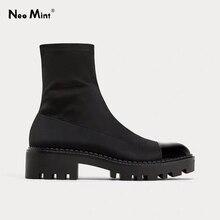 Chunky Heel Platform Boots Women Slim Stretch Fabric Sock Boots Platform Ankle B