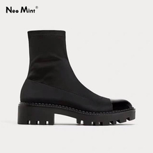 Chunky Heel Platform Boots Women Slim Stretch Fabric Sock Boots