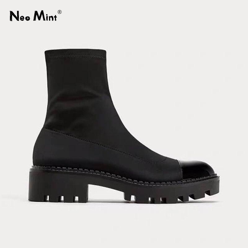 Plataforma Do Salto robusto Botas Mulheres de Slim Estiramento Tecido Meia Botas Botas do Tornozelo da Plataforma para Mulheres Marca Designer De Sapatos de Inverno Mulher