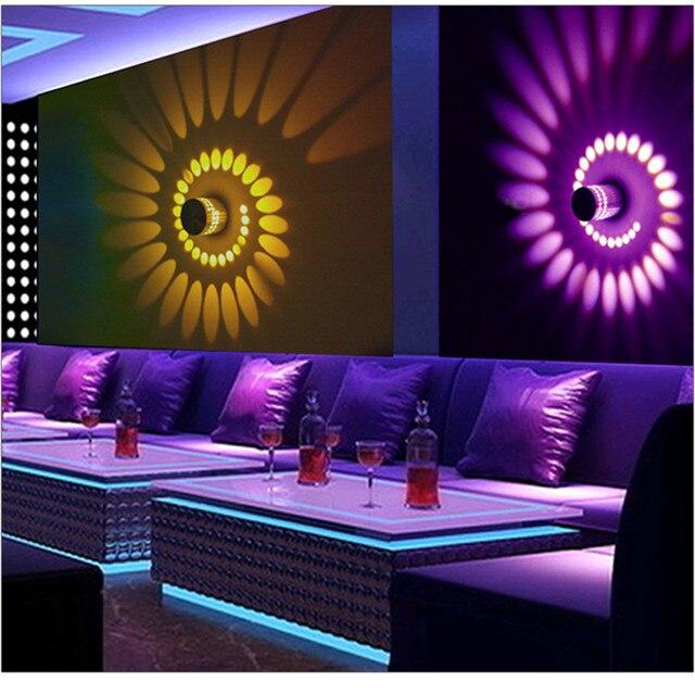 3w rgb led wall sticker light lamp fixture luminous lighting sconce