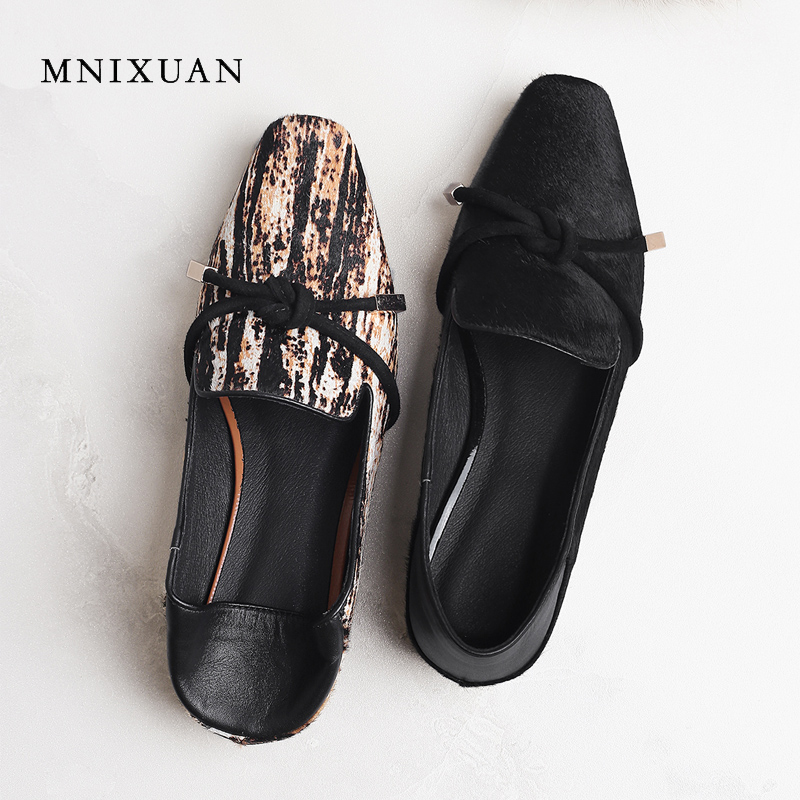 MNIXUAN women flats shoes loafers leather 2018 new fashion square toe casual horsehair slip on ladies shoes big size 34-42 black new round toe slip on women loafers fashion bow patent leather women flat shoes ladies casual flats big size 34 43 women oxfords