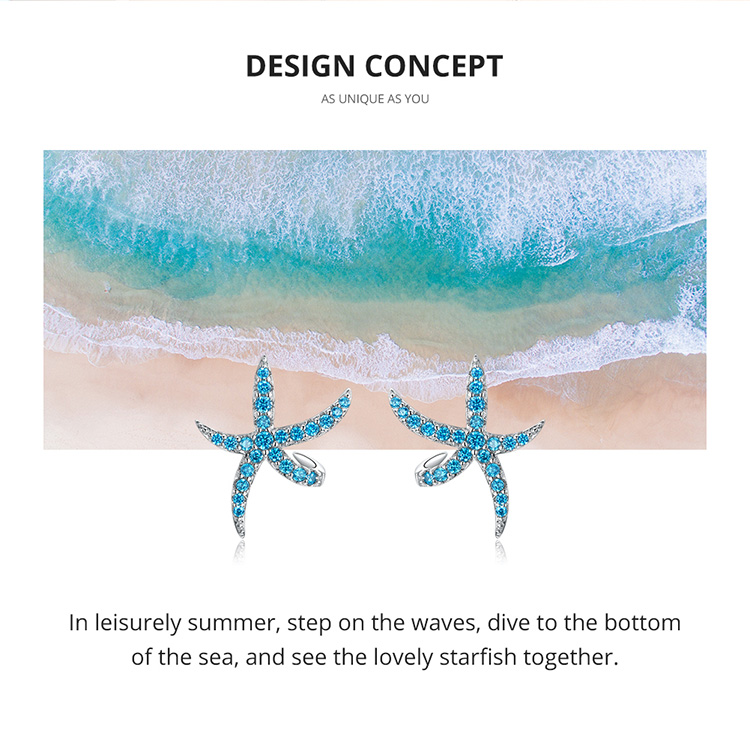 HTB1QiBNaUGF3KVjSZFoq6zmpFXaQ bamoer Starfish Stud Earrings for Women Genuine 925 Sterling Silver Fashion Blue Earings Studs Korean Design Jewelry BSE136