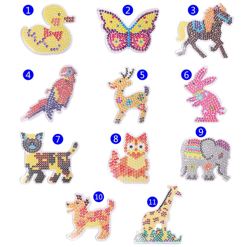 Children Puzzle Template Jigsaw Intelligent Games Beads Bean Colorful DIY Animal Nail Plate Plastic Handmade Manual Games