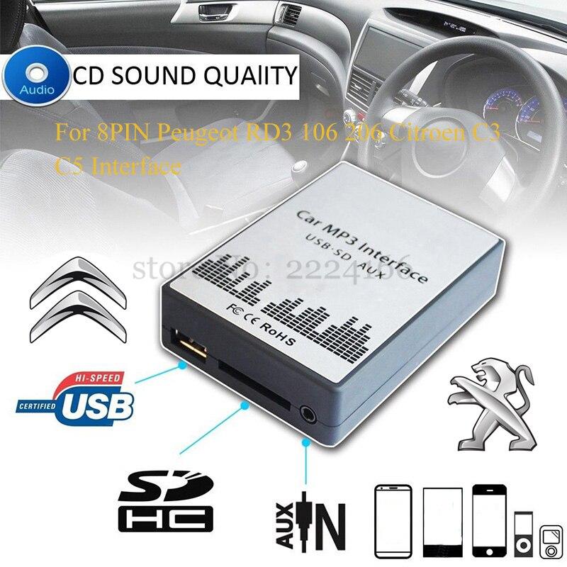 imágenes para Adaptadores de CD del coche AUX USB SD MP3 reproductor de música máquina de cambio para Peugeot 106 206 Citroen C3 C4 C5 RD3 Interfaz 8PIN, car-styling
