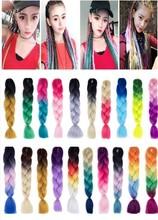 60cm kolorowe duże warkocze syntetyczne Kanekalon warkocz z włosów srebrny szydełkowe włosy do dredy modne młodzieży Salon fryzjerski tanie tanio Oplatarce 100g OLOEY Dirty wig Ekusute Dreadlocks Headwear Any color Dirty braid Hair style Jumbo Braids Hair salon Braid Wig