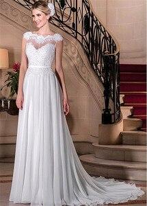 Image 3 - Wdzięku szyfonu Bateau dekolt line suknie ślubne z koronki z kryształkami aplikacje i pas suknia ślubna vestido festa