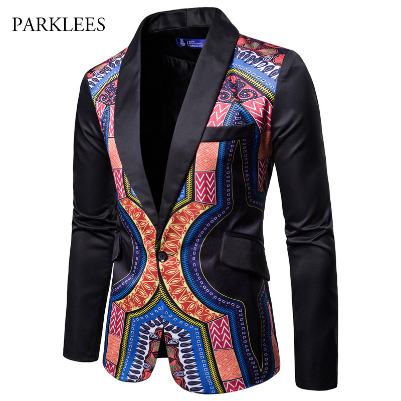 Dashiki African Style Suit Blazer Men 2018 New Brand Black Single Button Blazers Jacket Mens Harajuku Streetwear Hip Hop Costume