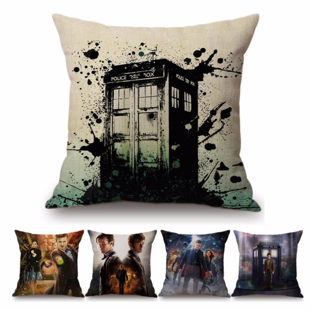 Doctor Who DW Tradis Poster Home Decorative Cushion Cover Cotton Linen Rectangle Square <font><b>Pillow</b></font> <font><b>Case</b></font> <font><b>30x50</b></font> 45x45cm Hiding Zipper image