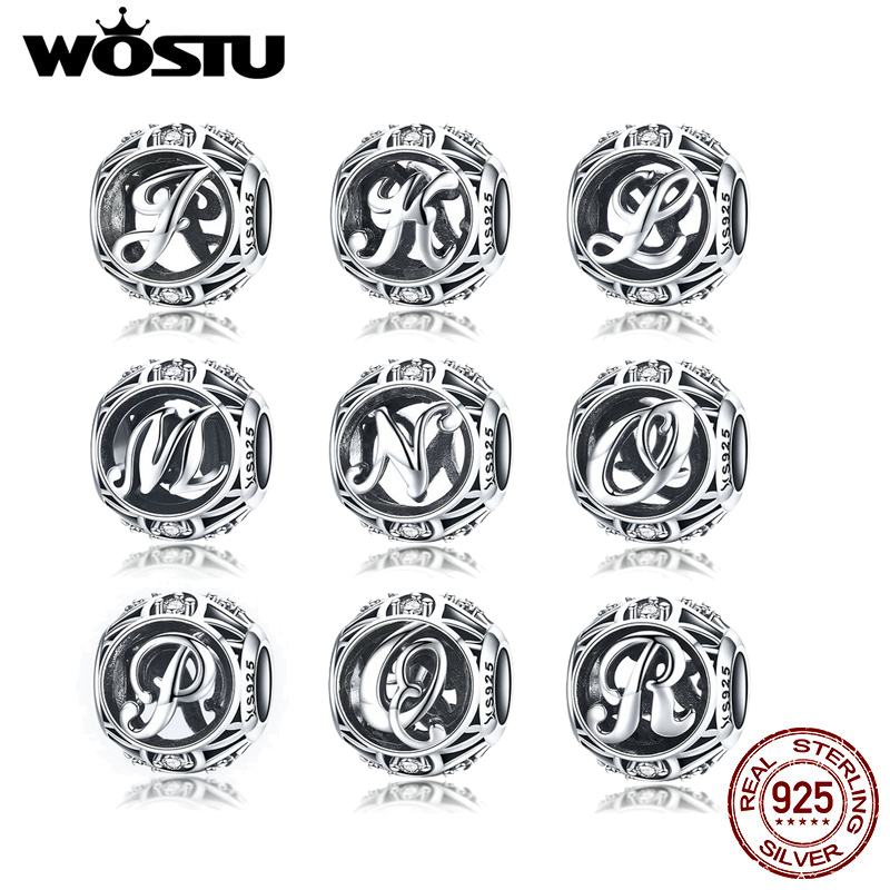 WOSTU Real 925 Sterling Silver DIY Name Letter Beads