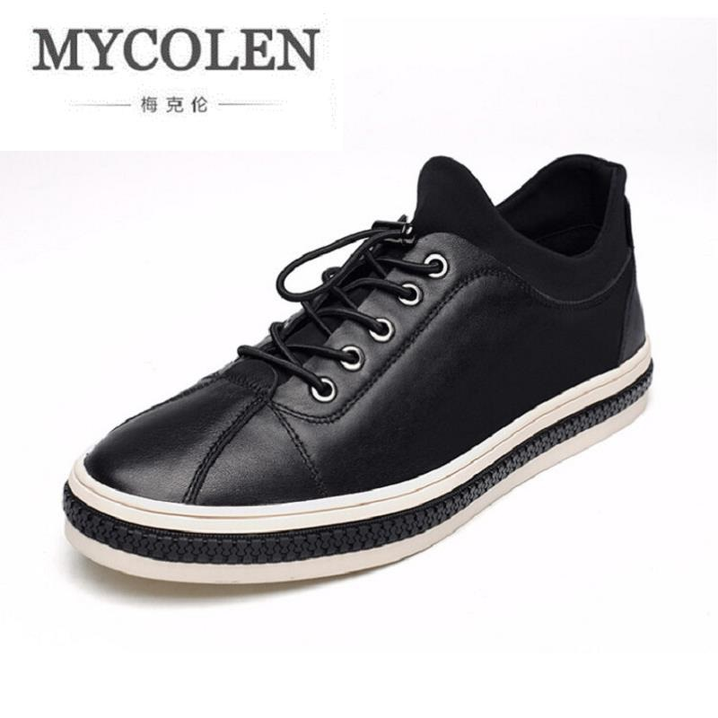 MYCOLEN New Board Shoes Black Shoes Breathable Casual Men Shoes Fashion Genuine Leather Men's Shoes zapatillas hombre casual цена 2017