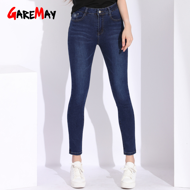 79a6d89e68 GAREMAY alta cintura Jeans mujeres más tamaño Straight Womens Jeans Mujer  2018 Denim para mujeres Slim