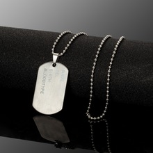 Mens Necklace Stainless Steel Pendant Dog Tags Army Nameplate Mens
