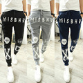 Casual men's clothing autumn personalized letter print harem pants  pants skinny pants men's clothing