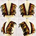Iridiscente velvet tuxedo bra pluma Pluma Epaulett Bondage Arnés de Cuerpo superior Del Hombro gypsy festival boho Goth Fetish lingerie