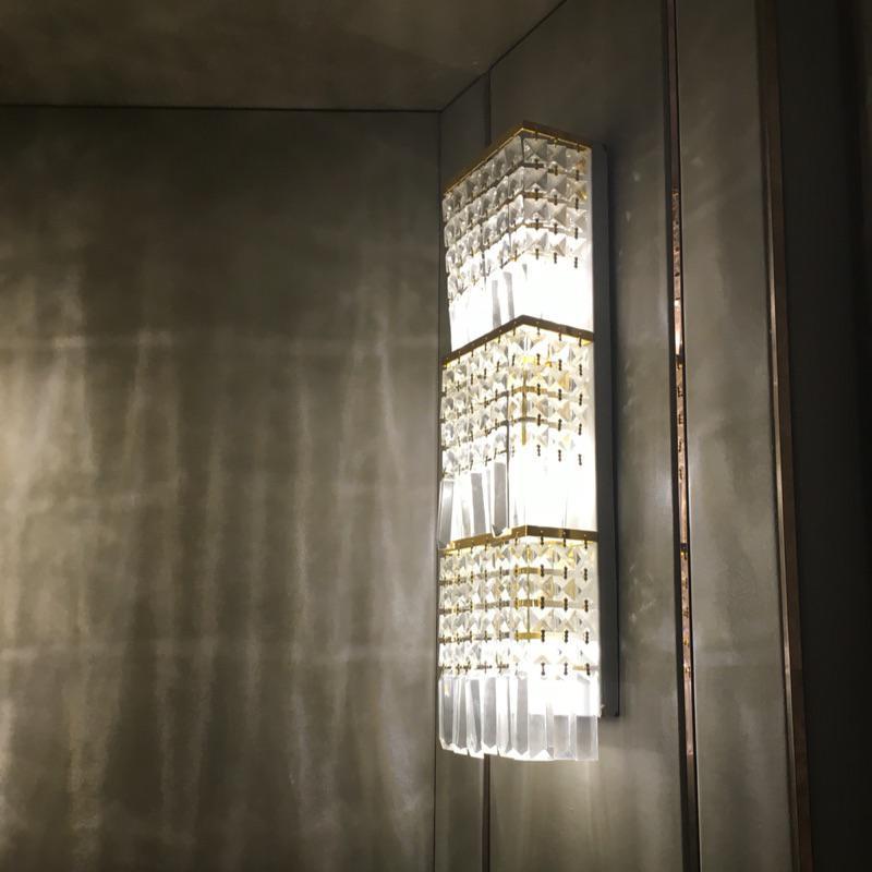 100% Кристалл Большой Настенный светильник ТВ Задний план дома Освещение отель проект Профессиональное освещение современный светодиодный