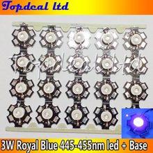100 шт. Королевский синий 3 Вт LED 445-455 нм Высокая мощность 3 Вт светодиодный чип-излучатель с 20 мм звездным основанием для растениеводства