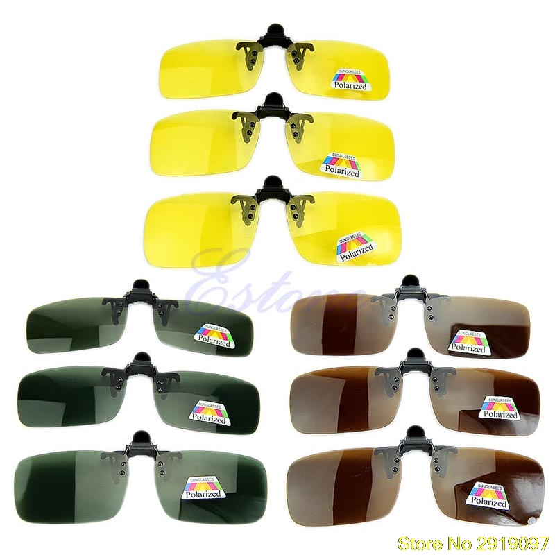New Polarized Day Night Vision Clip-on Flip-up Lens Sunglasses Driving Glasses Drop Shipping Support