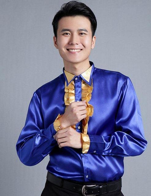 Королевский синий кружева рубашки мужская Fit тонкий Gollsy этап рубашки мужской хор танцевальные костюмы вечернее платье рубашка! 39 - 44 бесплатная доставка