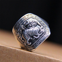 925 Sterling Silver Ring Carving Brave Troops Mysterious Animal Mens Ring Size 22 New Arrivals 2018 Aneis