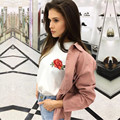 TAOVK nova moda estilo Russa mulheres camisetas de Verão flor Rosa bordado de manga curta t-shirt