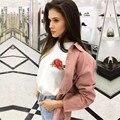 TAOVK nueva moda mujeres del estilo Ruso camisetas Del Verano flor Color de Rosa bordado de manga corta t-shirt