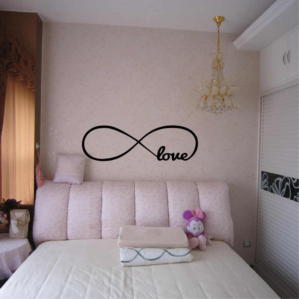 Наклейки на стену, декор в спальню, персонализированные символ бесконечности наклейки на обои для спальни Любовь картина с цитатами стены искусства