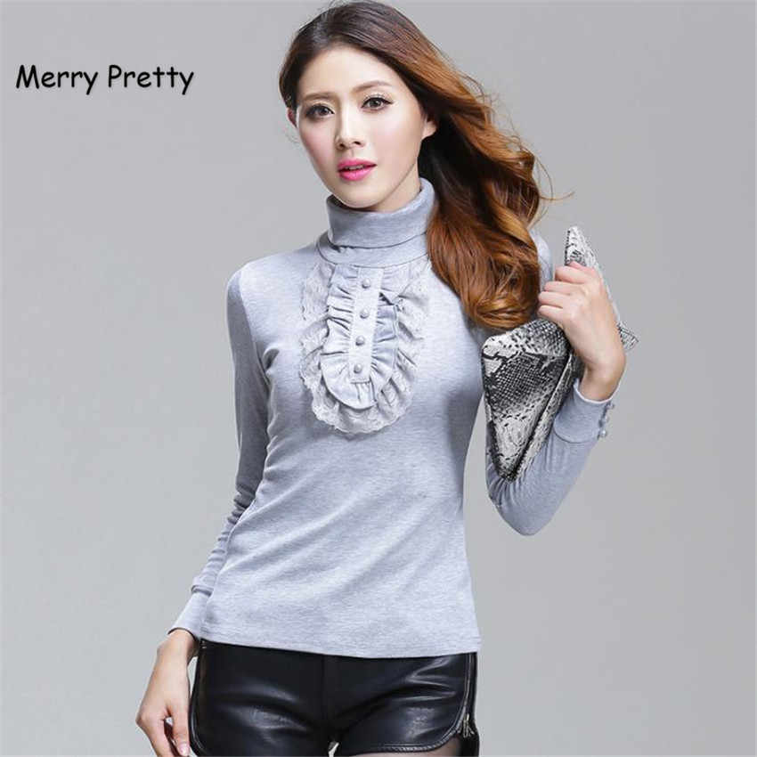 877b764d1f971 Merry Pretty Autumn new women s full sleeve lace patchwork pullover  sweaters women knitted turtleneck sweater plus