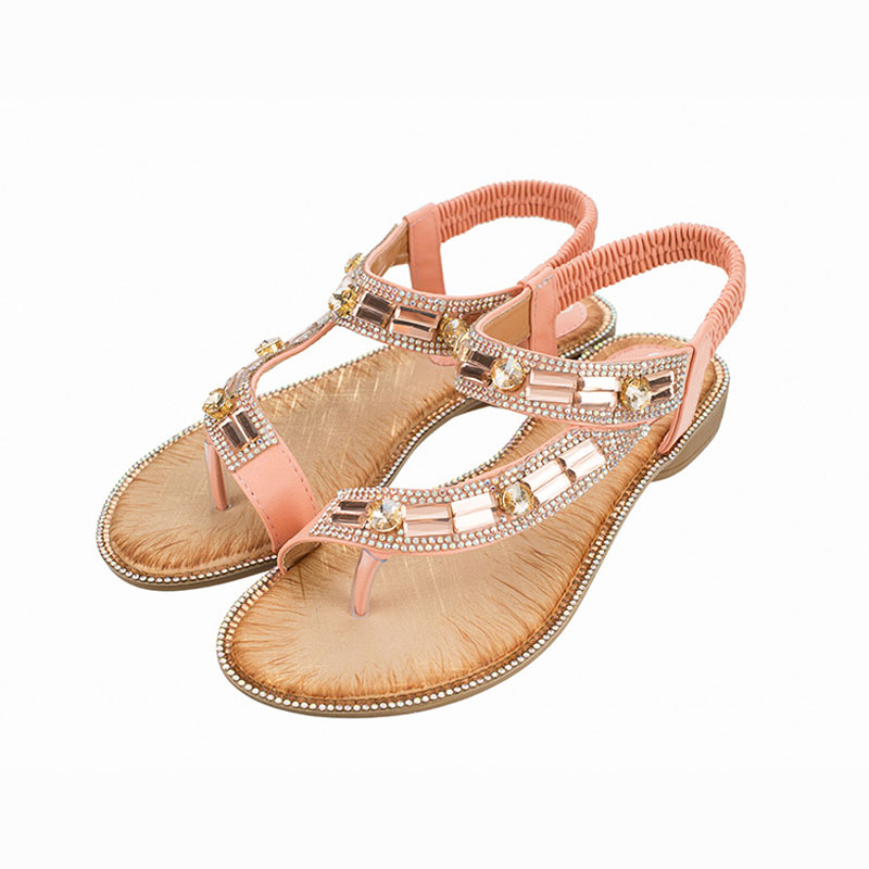 E TOY WORD Bohemian women shoes Different style fashion sandals women 2019 summer blue Rhinestone sandals flat shoes in Women 39 s Sandals from Shoes