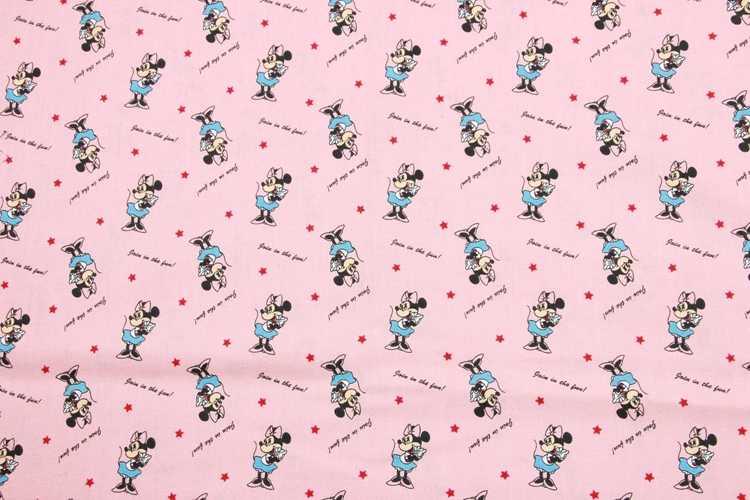 ครึ่งผ้าฝ้าย 100% แปรงการ์ตูน mickey พิมพ์ผ้าทำด้วยมือ DIY เสื้อผ้าเด็กผ้า T547