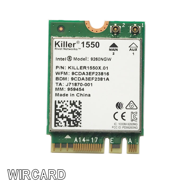 WIRCARD pour Killer 1550 intel 9260 9260NGW NGFF 1730 Mbps WiFi + Bluetooth 5.0 802.11ac carte