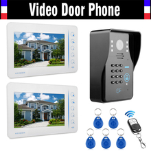 7″ Touch LCD 2PCS Monitor Wired Video Door Phone Intercom Doorbell with 5 PCS RFID Keyfob/Password/Remote Control Unlock