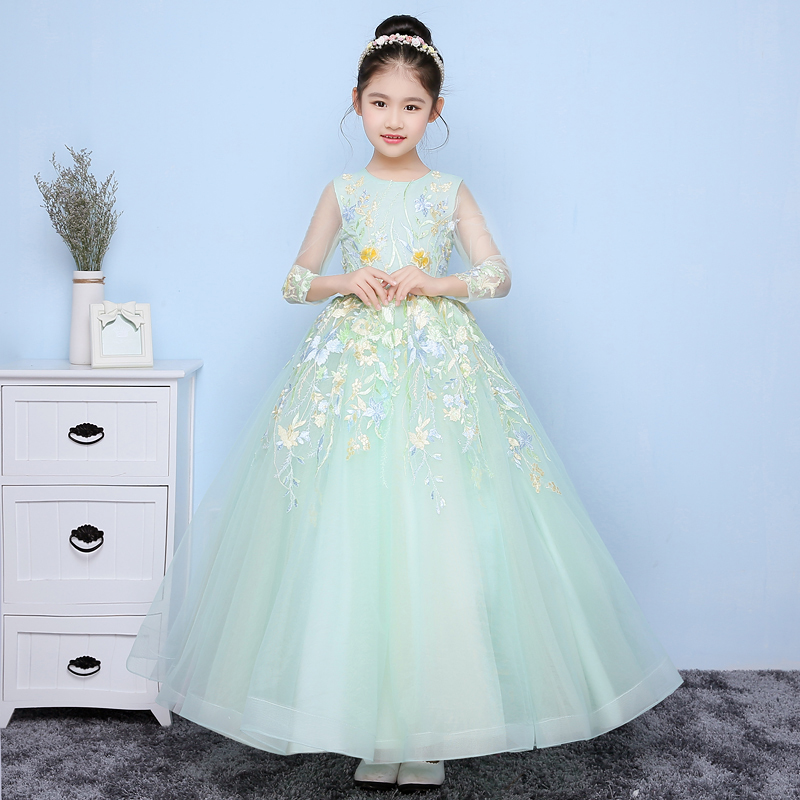 Embroidery Ball Gown Formal Girls Pageant Dress for Wedding Birthday Party Ankle Length Floral Tutu Flower Girl Dresses flower girl tutu dress children birthday party wedding princess dress kids ankle length rainbow boutique girls ball gown dresses