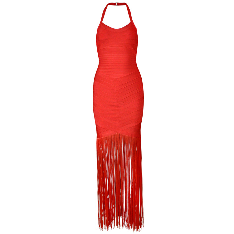 Top Quality Women Luxury Sexy Halter Tassel Red Long Bandage Dress 2018 Knitted Elastic Party Dress L 194