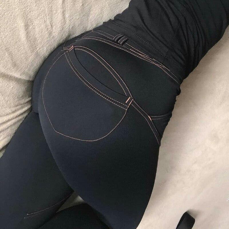 Frauen Casual Elastische Imitation Jeans Leggings Denim Blau Push-Up-Leggings Mode Weibliche Schwarze Baumwolle Tasche Leggings Plus Größe