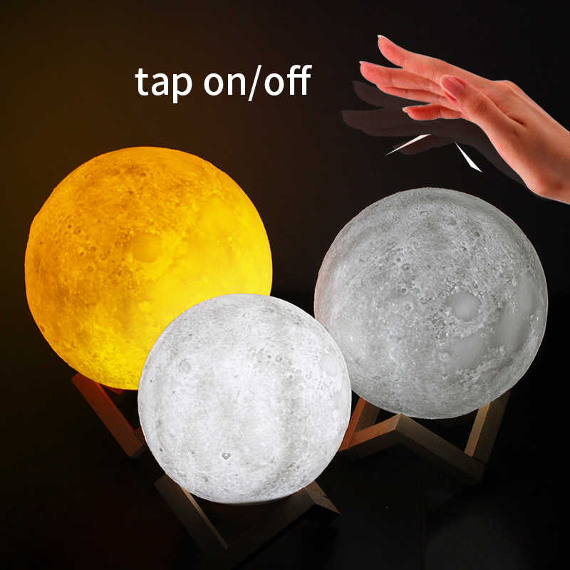 15cm Rechargeable touch Switch Moon Lamp Night Light 2 Color Changing Bedroom Creative desk dream lamp Home gift