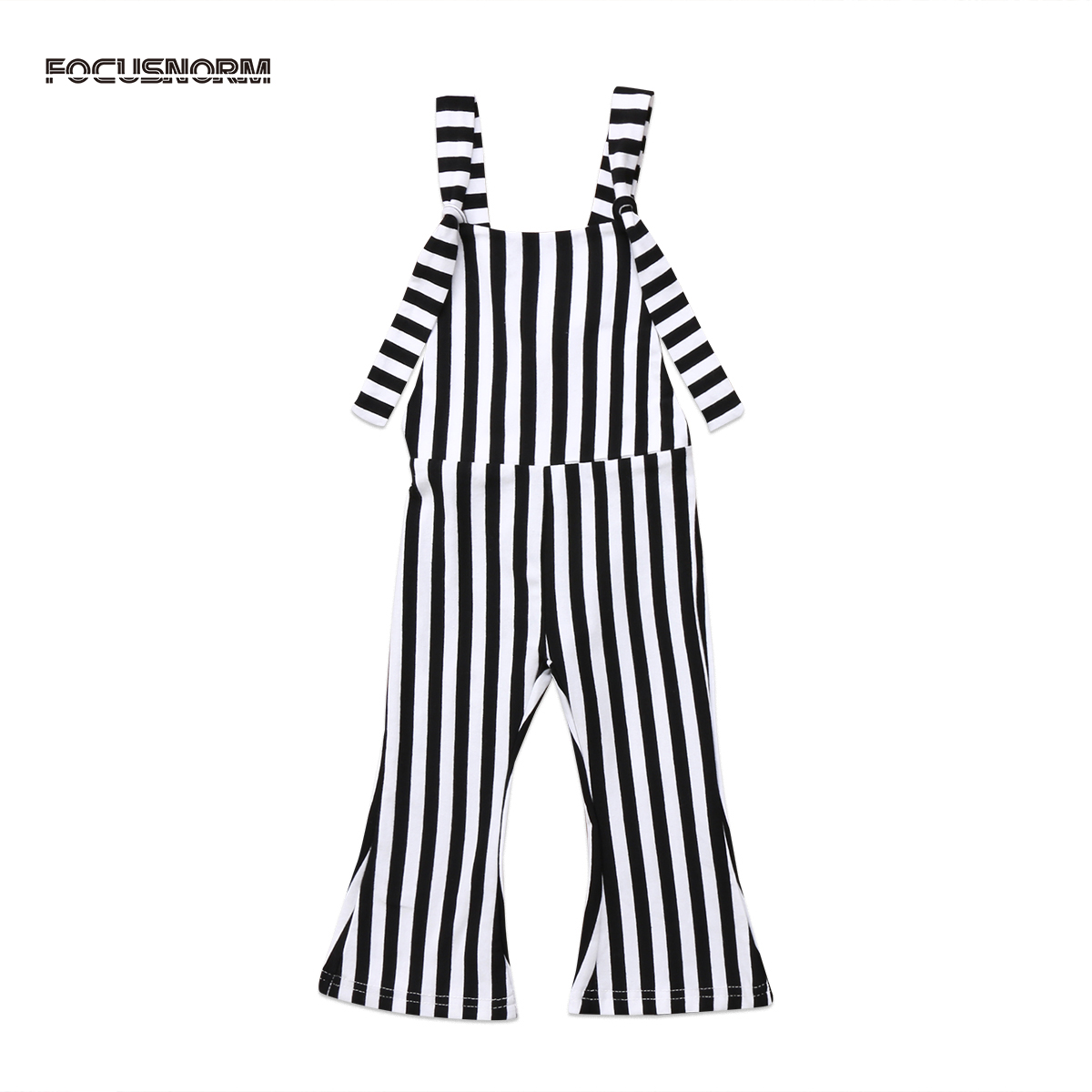 Toddler Kids Baby Girl Vertical Striped Brace Flare Pants Overalls Jumper Sleeveless Back Cross Romper Outfit For Children 1-5Y