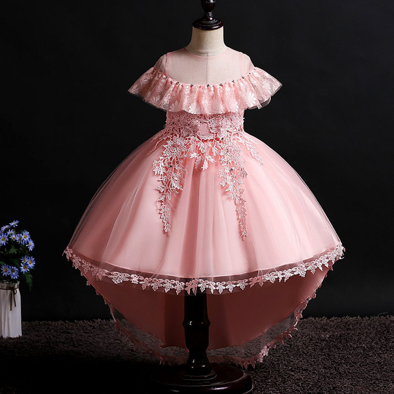 New Children's Princess Birthday Party Lace Ball Stage Dress Flower Princess Banquet Girls Tailed Party Dress Vestidos