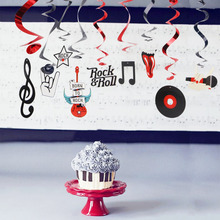 (10pc/pkg) Rock Metallic Foil Hanging Swirls n Roll Whirls Musical Party Decorations Birthday