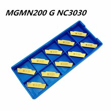 10Pcs Lathe tool MGMN200 G NC3030 2.0mm slotted carbide blade metal turning tools MGMN200 stainless steel slotting tool