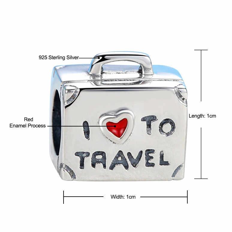 e76170a838b0 2018 925 Sterling Sliver Bead Charm Vintage I Iove To Travel Suitcase Beads  Fit Original Pandora Bracelet Bangle DIY Jewelry