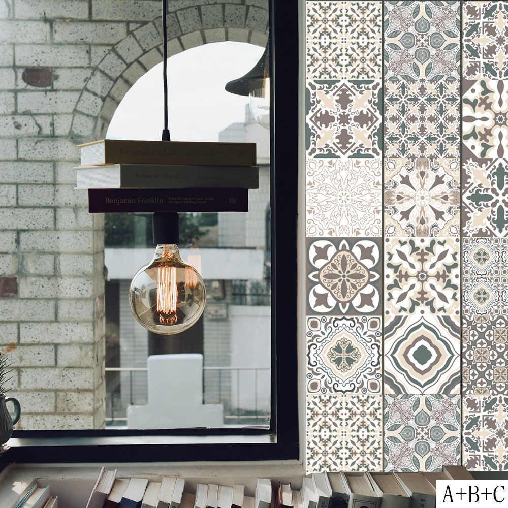 20*100cm árabe Retro azulejos de cerámica pegatinas para la pared de la  cocina papel tapiz impermeable para cuarto de baño PVC autoadhesivo  pegatinas ...