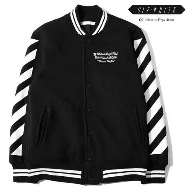 23a44288fa87 OFF WHITE C O VIRGIL ABLOH varsity jacket men clothes college baseball  letterman outerwear mens jackets high quality coat